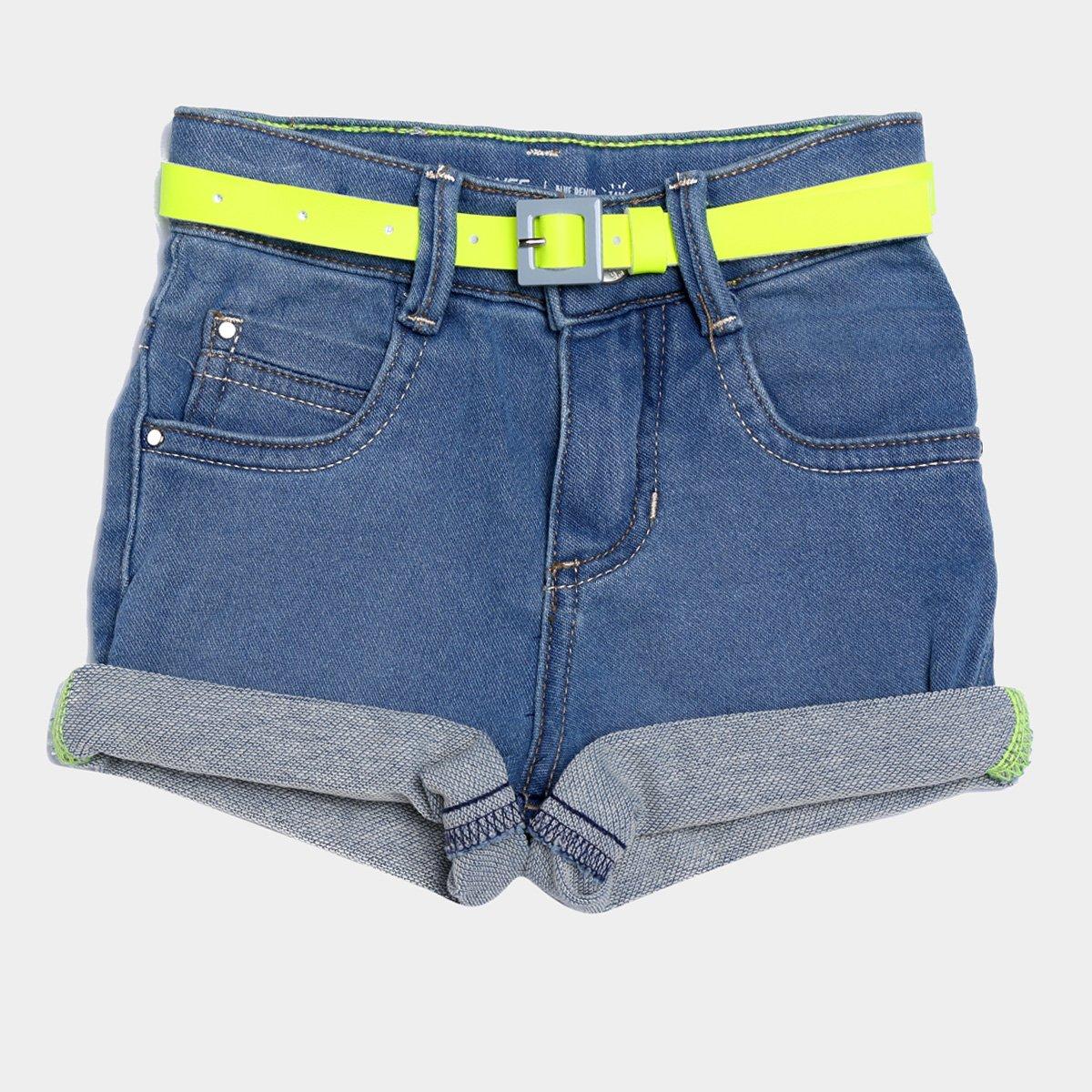 Shorts Jeans Juvenil Malwee Com Cinto Neon Feminino