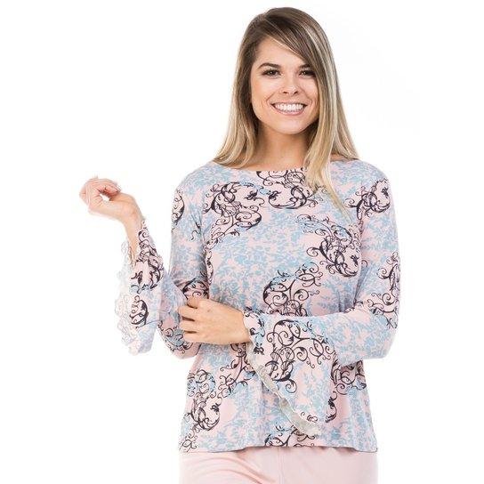 c661b25b6 Pijama Longo de Liganete com Blusa Flare Dulmar - Salmão