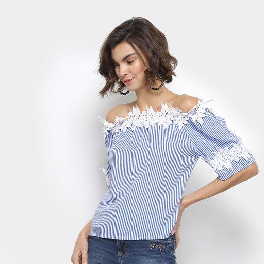 f77757bbb6 Blusa Ombro a Ombro Listrada Lily Fashion com Renda Feminina - Azul Claro