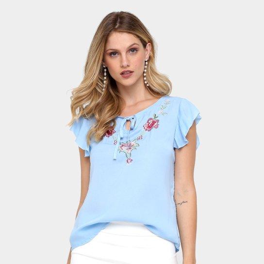 c198de6211 Blusa Heli Fashion Bordada Feminina - Azul Claro