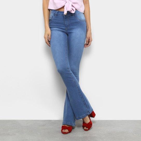0c0d00bff5eb7 Calça Jeans Flare Coffee Lavagem Clara Cintura Alta Feminina - Azul Claro