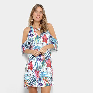 7148f6758 Vestido Holin Stone Evasê Curto Open Shoulder Estampado