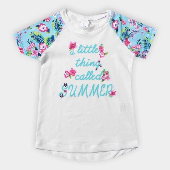 8280e9cc97 Camiseta Infantil Tip Top Summer Flower Proteção UV Feminina - Azul  Claro+Branco