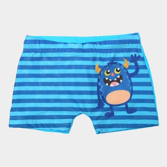 8af4a9403de6c Sunga Boxer Infantil Tip Top Estampada Masculina - Azul Claro e Azul ...