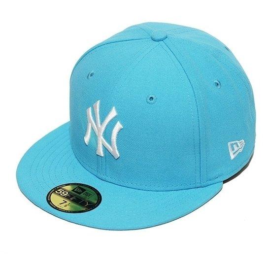 4cbc8ef8ac5ee Boné New Era Aba Reta Fechado Mlb Ny Yankees Basic - Azul Claro ...