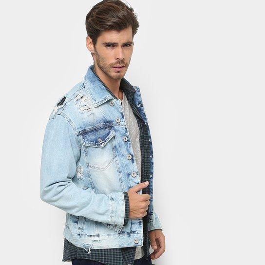 6cd425df73 Jaqueta Jeans Rock   Soda Lavagem Clara Masculina - Azul Claro
