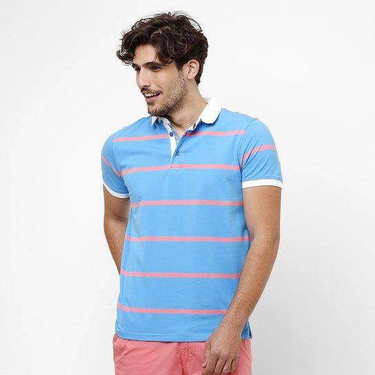 Camisa Polo Pacific Blue Fio Tinto Listras - Azul Turquesa+Branco d8cbb176c2dc0