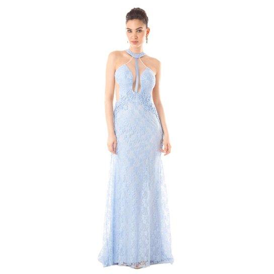 1b1f077ef Vestido Longo IzaD em Renda e Tule Decote Costas Feminino - Azul Claro