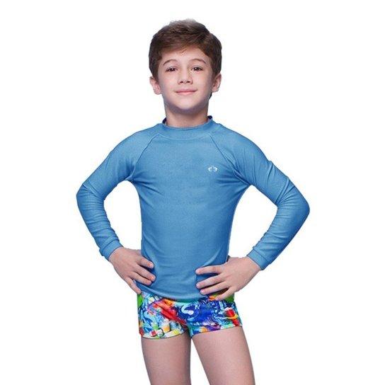 Camiseta Manga Longa Infantil Siri Com Proteção Solar Masculino - Azul Claro 4beaabdde20