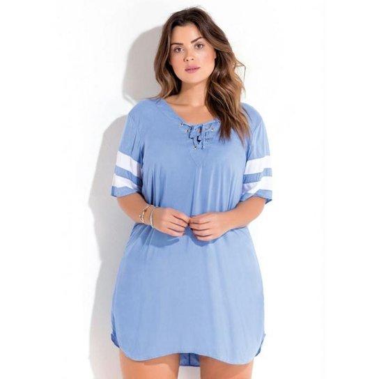 596f5b97d Vestido Plus Size em Viscose Plana Azul Quintess - Azul Claro