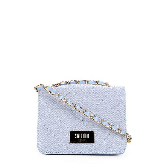 Bolsa Santa Lolla Mini Bag Jeans Matelassê Alça Corrente Feminina - Azul  Claro d3312d133f4