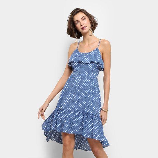 b5ce60bcb Vestido Fiya Lady Evasê Curto Poá Alcinha - Azul Claro