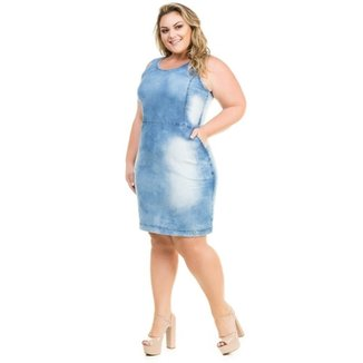 33fa7c5f5 Vestido Confidencial Extra Plus Size Jeans Regata com Bolsos Feminino