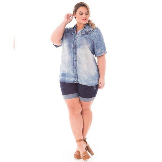 e2c0794527 Camisa Confidencial Extra Plus Size Jeans com Bordado Feminina - Azul Claro