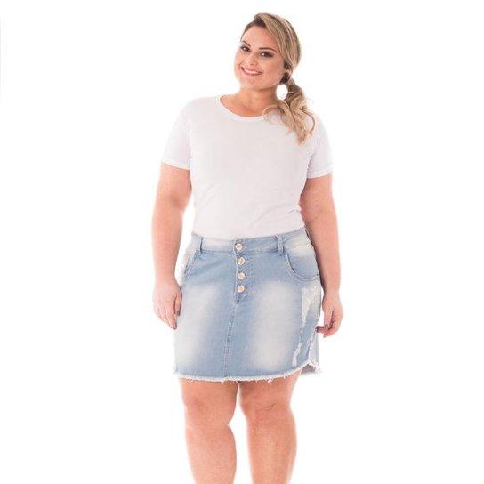 02e846fee Saia Confidencial Extra Plus Size Jeans com Botões e Barra Desfiada  Feminina - Azul Claro. Loading.