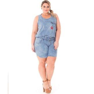 4bee376a3 Regata Confidencial Extra Plus Size Jeans com Patch Feminina