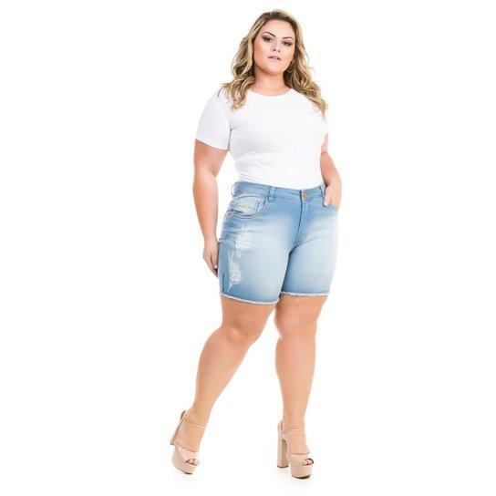 bc18740df Shorts Confidencial Extra Plus Size Jeans com Elastano Feminino - Azul Claro