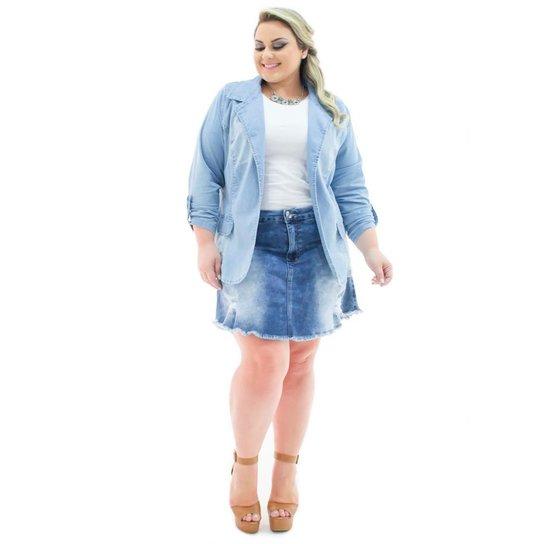 e5db03640 Blazer Jeans Confidencial Extra Plus Size Alongado Aberto Feminino - Azul  Claro
