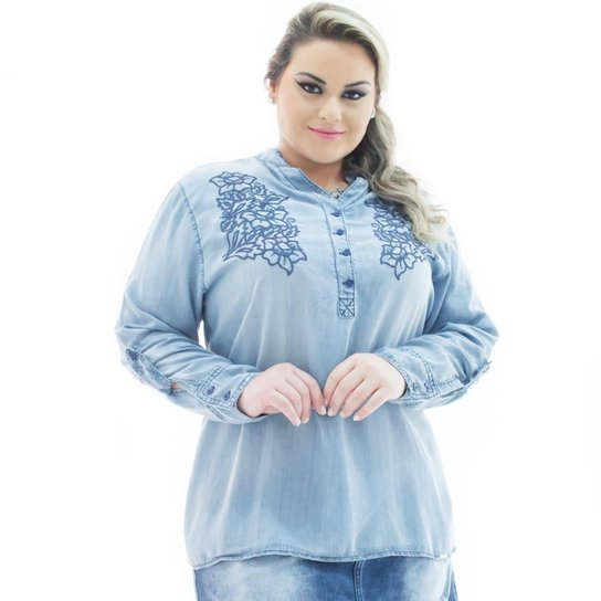0f7f0dc8bb Camisa Confidencial Extra Jeans Manga Longa com Bordado Plus Size Feminina  - Azul Claro