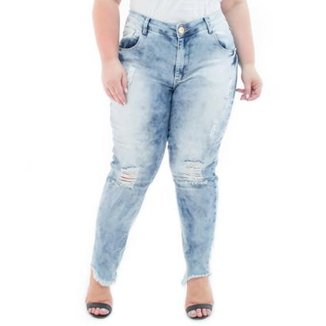 3eee4f8d8b9 Calça Jeans Feminina Confidencial Extra Cropped Destroyed Plus Size