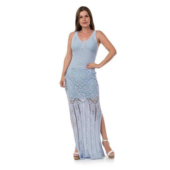 6f7b2da206e Vestido Pink Tricot Longo Decote Costas Correntes Feminino - Azul Claro