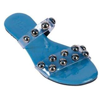 76042009c4 Rasteirinha Mercedita Shoes Bolas Cristal Macia Conforto Verão Feminina