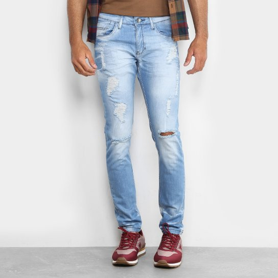 93cdf62cd1330 Calça Jeans Skinny Preston Destroyed Elastano Skinny Masculina - Azul Claro