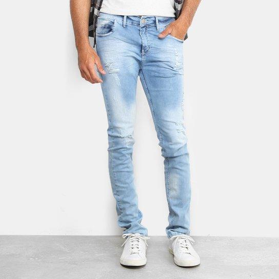 3c72b8be4 Calça Jeans Skinny Preston Classic Destroyed Masculina - Azul Claro