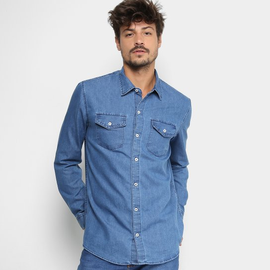 029a68407c1025 Camisa Jeans Manga Longa Preston Clássica Bolsos Masculina - Azul Claro