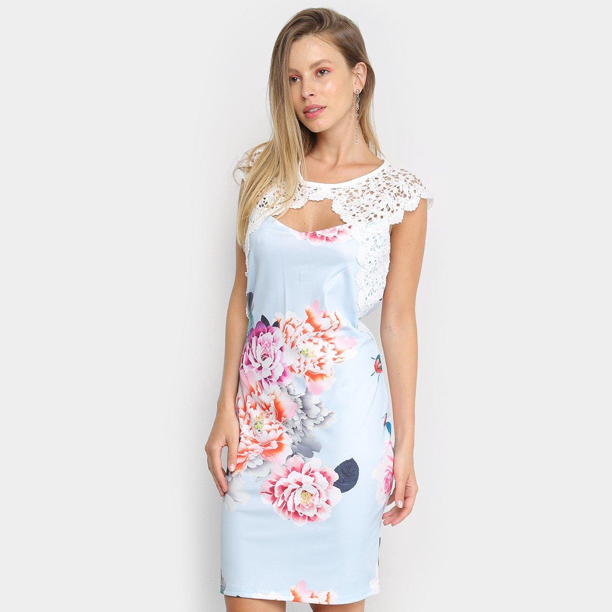 Vestido Edivi Curto Guipir Floral