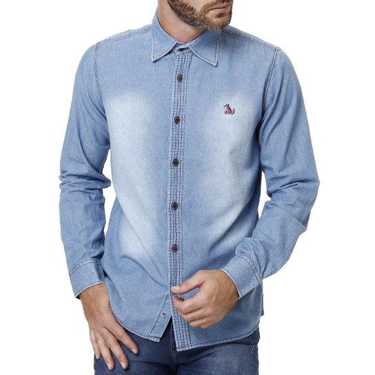 Camisa Jeans Manga Longa Masculina Azul - Compre Agora  56fe70f477f