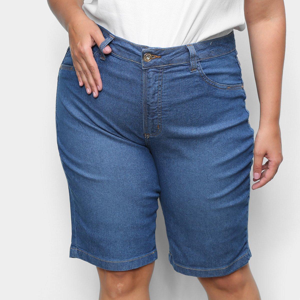 Shorts Jeans Cambos Plus Size Cilcista Feminino
