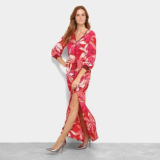 39e9af9636 Vestido Morena Rosa Longo Decote V Floral Fenda