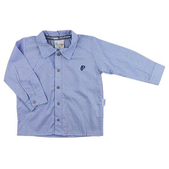 Camiseta Bebês Paraíso Moda Bebê Camisa Para Bebê Social Manga Longa - Azul  Claro b4d279d760b29