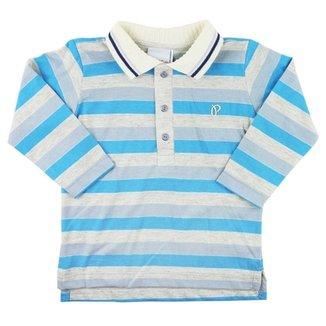 Camiseta Bebês Paraíso Moda Bebê Gola Polo Manga Longa b67306e5bc3b2