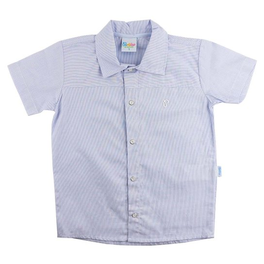 f8d71bee06 Camiseta Paraíso Moda Bebê Camisa de Linho Infantil Até 3 Anos - Azul Claro
