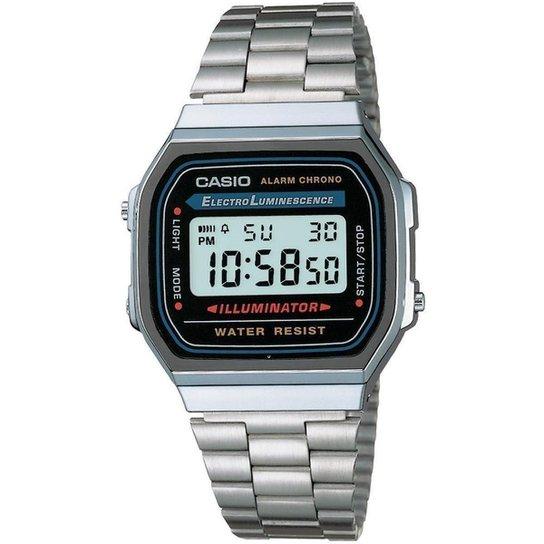 1c8099fb1eb Relógio Feminino Casio Vintage Digital Fashion A168wa 1Wdf - Prata ...