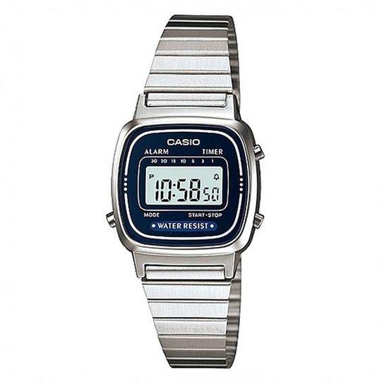 1f405e78582 Relógio Casio Vintage LA670WA-2DF - Prata - Compre Agora