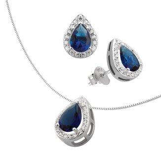 Conjunto de Prata com Gota Zircônia Azul fce2db7b59