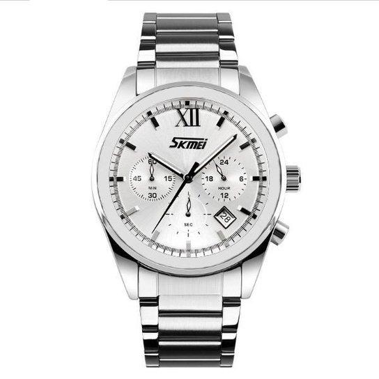 862fe87e42e Relógio Skmei Analógico 9096 - Prata - Compre Agora