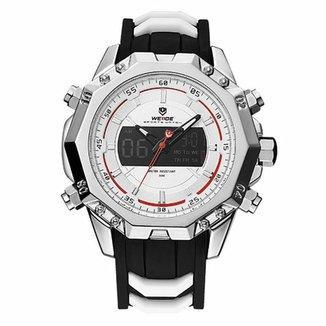 7bd64ce416 Relógio Weide Anadigi WH6401 Prata e Branco