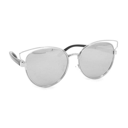191ca4a3ebd16 Óculos de Sol Gatinha com Lente Espelhada - Prata - Compre Agora ...