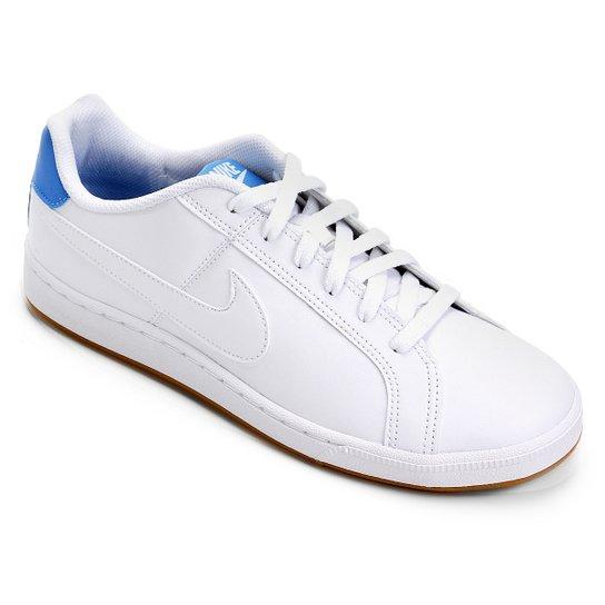 24f1782eb9857 Tênis Couro Nike Court Royale Masculino - Branco e Azul Claro | Zattini
