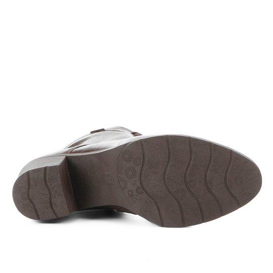 20a811835d Bota Coturno Comfortflex Salto Curto Feminina - Marrom Escuro