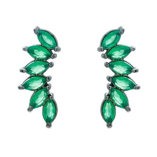 Brinco Ear Cuff Navetes Verde Esmeralda Ródio Negro - Compre Agora ... d3e0b8354c