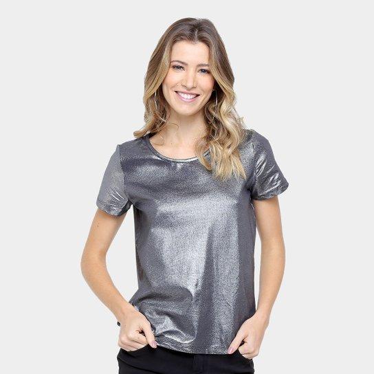 715ebb9d7 Camiseta Colcci Metalizada Feminina - Prata   Zattini