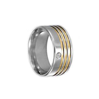 fcc9f8f7b3184 Aliança de Aço c  Zircônia Filete de Ouro (Unidade)-12