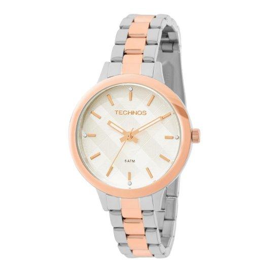 69b80153bbd04 Relógio Feminino Technos Trend 2036MEU 5K Pulseira Bicolor Prata Rose -  Prata