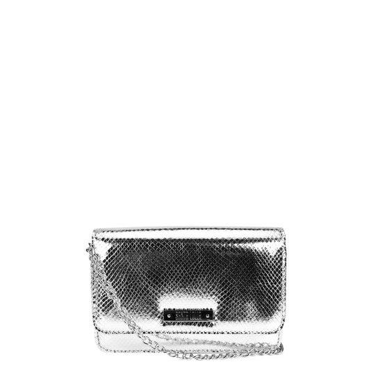 85c01e577 Bolsa Santa Lolla Mini Bag Transversal Matelassê Cobra Feminina - Prata