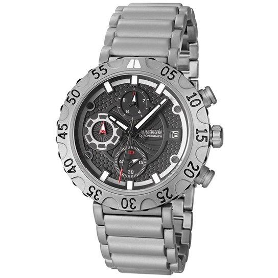 Relógio Masculino Magnum Analogico Com Cronografo Calendario - Prata ... 30ecfe23fb